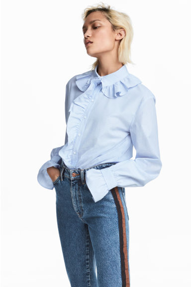 Shirt with frills - White/Blue striped - Ladies | H&M 1