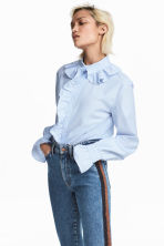 Shirt with frills - White/Blue striped - Ladies | H&M CN 1