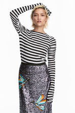 Long-sleeved jersey top - White/Black striped - Ladies | H&M 1