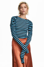 Long-sleeved jersey top - Black/Blue striped - Ladies | H&M CN 1