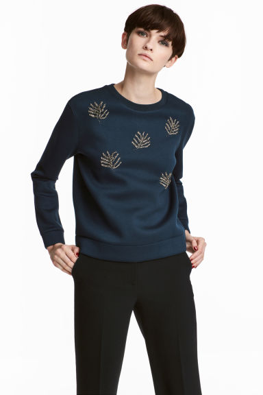 Beaded sweatshirt - Dark blue - Ladies | H&M IE 1