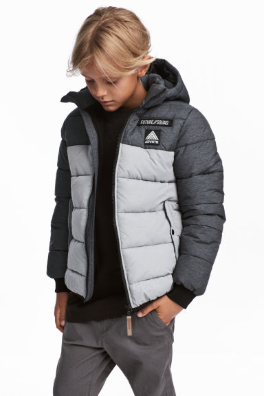 Padded jacket with a hood - Grey - Kids | H&M CN 1