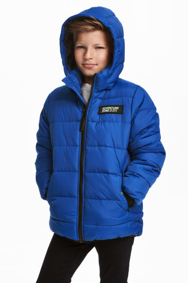 Padded jacket with a hood - Bright blue - Kids | H&M CN