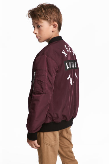 Printed bomber jacket - Burgundy -  | H&M 1