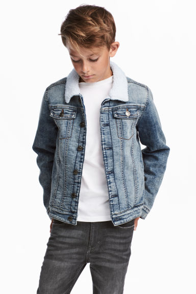 Pile-lined denim jacket - Denim blue -  | H&M 1