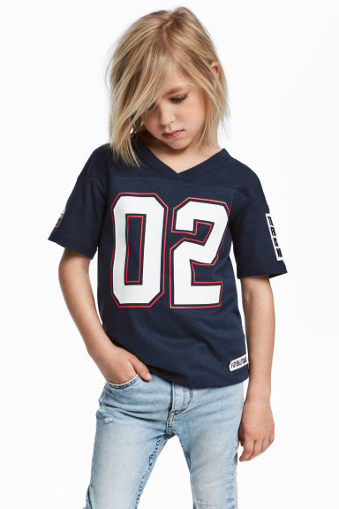 T-shirt with mesh - Dark blue - Kids | H&M 1