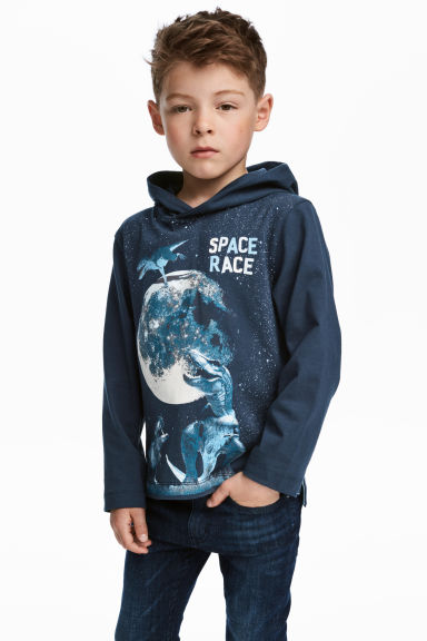 Jersey hooded top - Dark blue/Dinosaurs -  | H&M