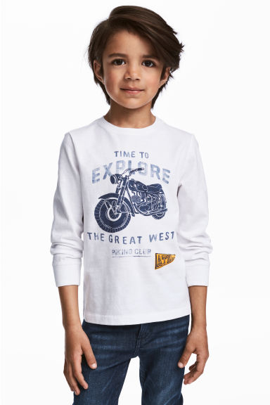 Long-sleeved T-shirt - White/Motorbike - Kids | H&M