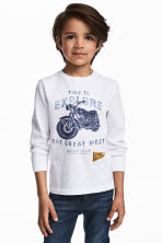 Long-sleeved T-shirt - White/Motorbike - Kids | H&M CA 1