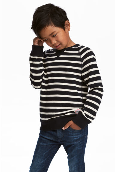 棉質網眼上衣 - Black/White/Striped - Kids | H&M 1