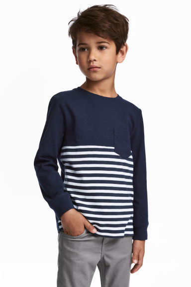 Long-sleeved T-shirt - Dark blue/Striped - Kids | H&M 1
