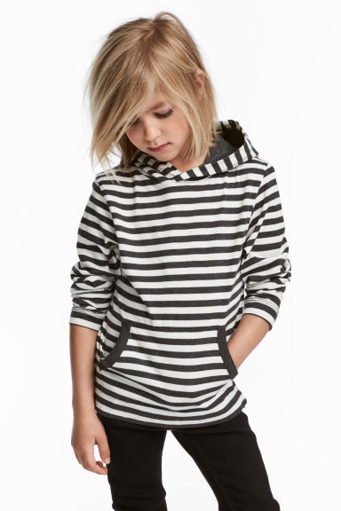 Jersey hooded top - White/Striped -  | H&M 1