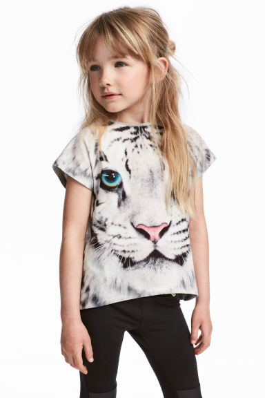 短袖上衣 - Grey/Tiger - Kids | H&M 1