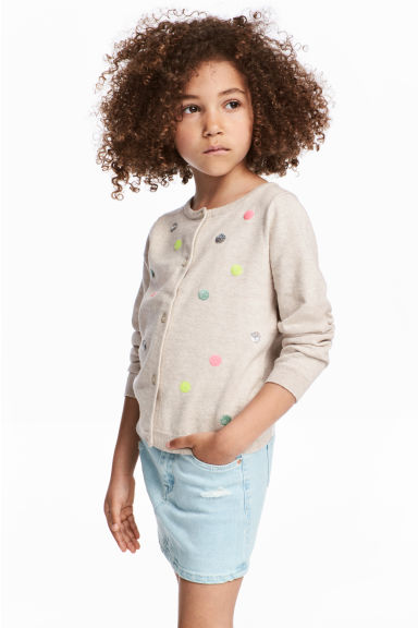 Sequined cotton cardigan - Light beige/Spotted - Kids | H&M CN 1