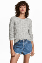 Cable-knit jumper - Grey marl - Ladies | H&M 1