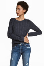 Cable-knit jumper - Dark blue - Ladies | H&M 1