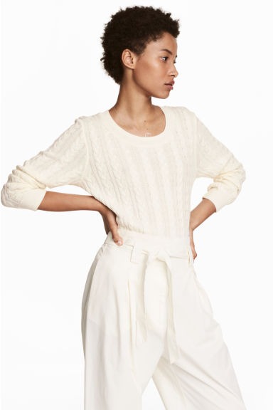 Cable-knit jumper - Natural white - Ladies | H&M IE