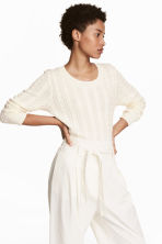 Cable-knit jumper - Natural white - Ladies | H&M CN 1