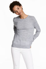 Knitted wool jumper - Grey marl - Ladies | H&M CN 1