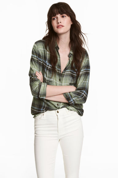 Flannel shirt - Green - Ladies | H&M