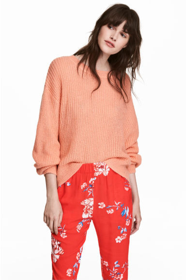 Loose-knit jumper - Peach - Ladies | H&M CN