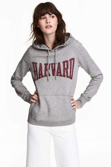 Printed hooded top - Grey/Harvard - Ladies | H&M 1