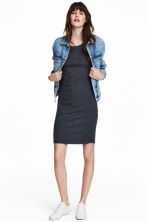 Jersey dress - Dark blue marl - Ladies | H&M CN 1