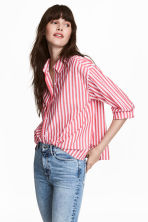 Wide cotton shirt - Red/White striped - Ladies | H&M IE 1