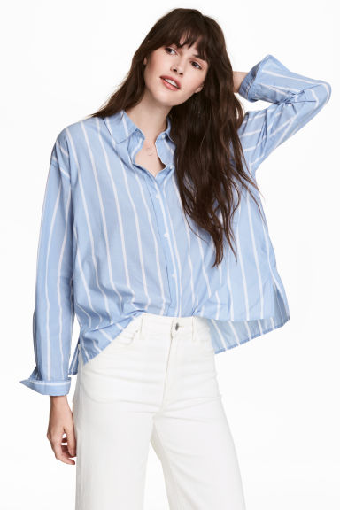 Wide cotton shirt - Light blue/Striped - Ladies | H&M CN 1