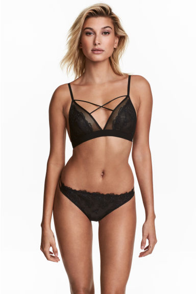 Thong 蕾絲內褲 - Black - Ladies | H&M 1
