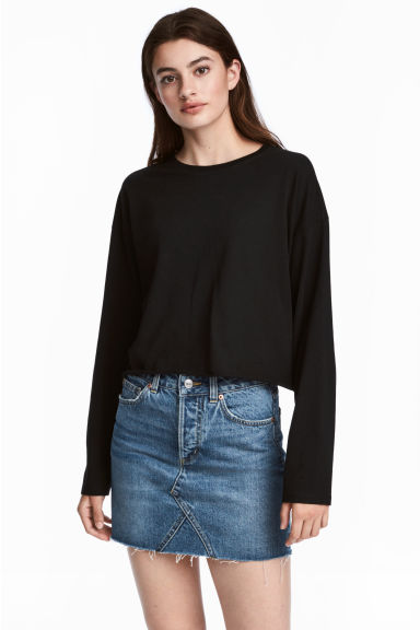 Cropped jersey top - Black - Ladies | H&M CN