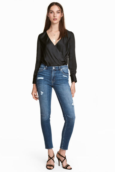 Girlfriend Jeans - 丹寧藍/刷破 - Ladies | H&M 1