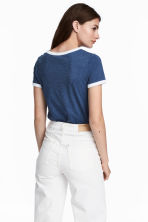 Short T-shirt - Dark blue - Ladies | H&M 1