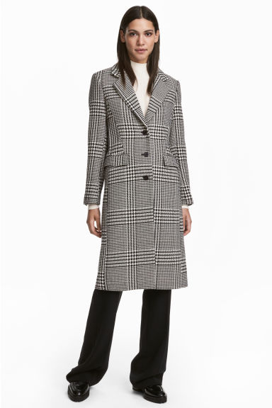 Wool-blend coat - Black and white - Ladies | H&M CN 1