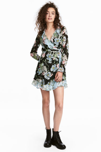 Abito incrociato - Nero/fiori - DONNA | H&M IT 1