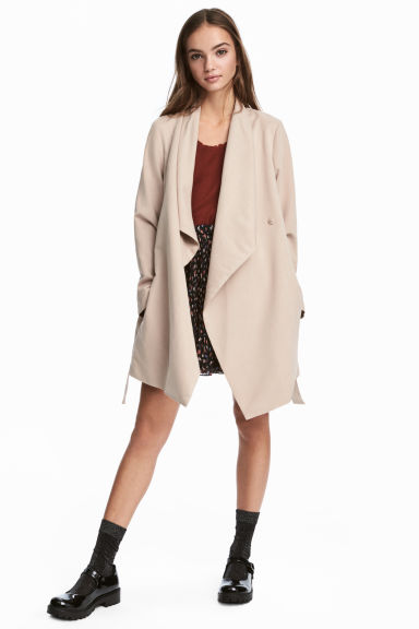 Draped coat - Beige -  | H&M