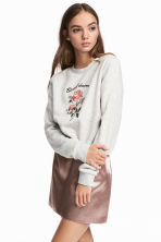 Embroidered sweatshirt - Light grey - Ladies | H&M IE 1