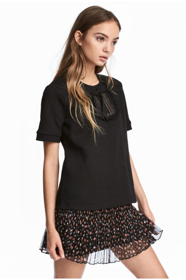 Short-sleeved sweatshirt - Black - Ladies | H&M