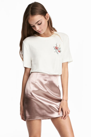 Short Satin Skirt - Powder pink - Ladies | H&M CA