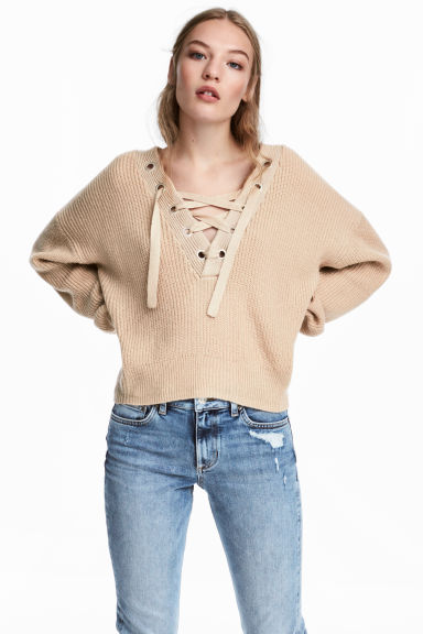 Knit Sweater with Lacing Model
