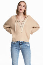 Knitted jumper with lacing - Light beige - Ladies | H&M 1