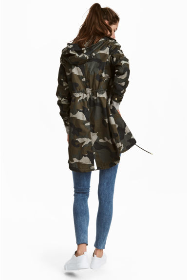 Patterned cotton parka - Khaki green -  | H&M 1
