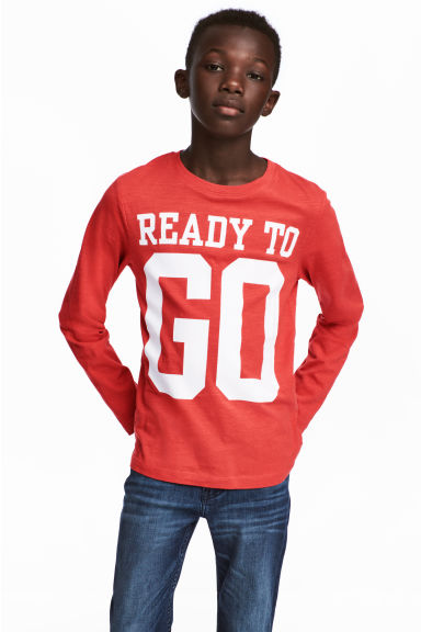 Printed jersey top - Red/Text - Kids | H&M CN