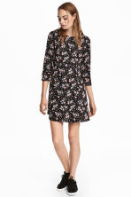 Crêpe dress - Black/Floral - Ladies | H&M CN 1