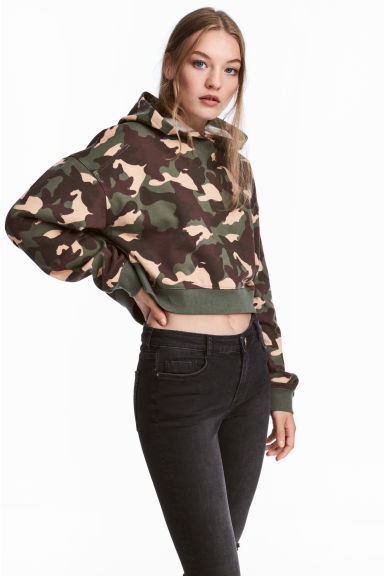 Cropped hooded top - Khaki green/Patterned - Ladies | H&M