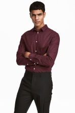 Cotton shirt Slim fit - Burgundy/white dotted - Men | H&M CA 1