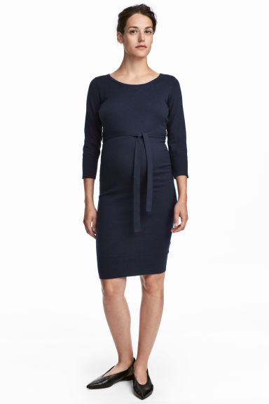 MAMA Fine-knit dress - Dark blue - Ladies | H&M IE 1