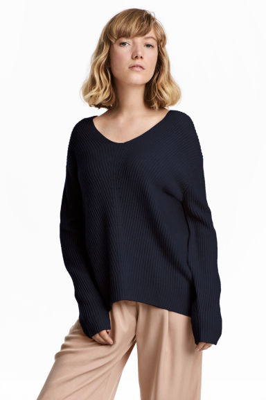 Rib-knit cashmere jumper - Dark blue - Ladies | H&M 1