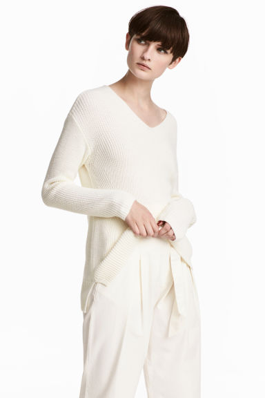 Double-knitted jumper - White - Ladies | H&M 1