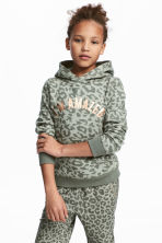 Hooded Sweatshirt with Motif - Khaki green - Kids | H&M CA 1